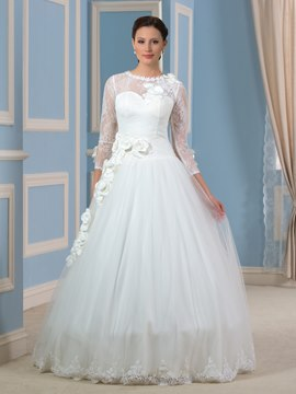 Ericdress Beautiful Jewel Flowers Lace Wedding Dress with Sleeves
