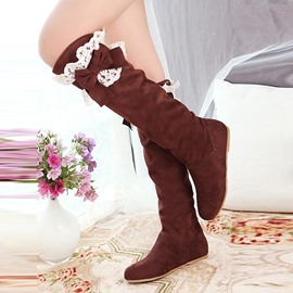 Ericdress Lace&bowtie Decorated Knee High Boots