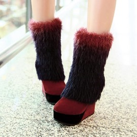Ericdress Fashion Furry Wedge High Heel Boots