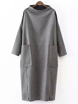 Ericdress Gray Round Neck Women's Causal Dress