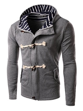 Ericdress Stripe Patched Zip Horn Buttons Slim Men's Hoodie