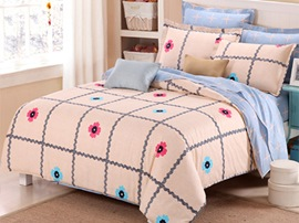 Ericdress Checkered Floral Print 4-Piece Cotton Bedding Sets
