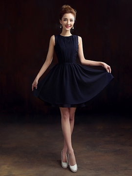 Ericdress A-Line Scoop Pleats Hollow Cocktail Dress