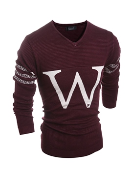 Ericdress Color Block Letter Jacquard Men's Sweater