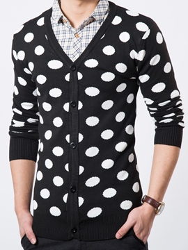 Ericdress Polka Dots Slim Single-Breasted Men's Sweater