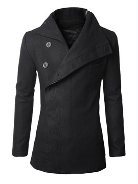 Ericdress Black Lapel Oblique Single-Breasted Slim Men's Coat