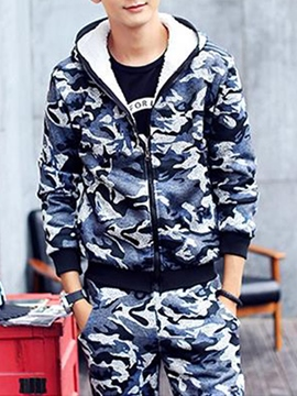 Ericdress Camouflage Thicken Flocking Zip Men's Sports Suit