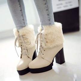 Ericdress Splendid Lace-up Chunky Heel Boots