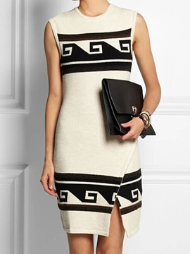 Ericdress Round Neck Sleeveless Knit Split Sweater Dress