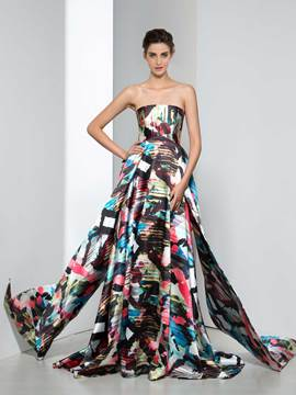 Ericdress A-Line Strapless Tiered Print Evening Dress
