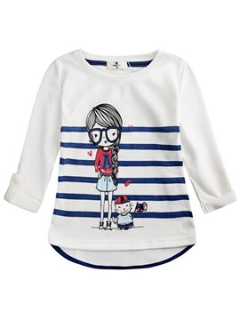 Ericdress Cartoon Stripe Print Girls T-Shirt