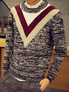 Ericdress Color Block Pullover Vogue V Jacquard Men's Sweater