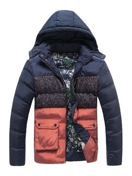 Ericdress Color Block Thicken Warm Winter Men's Cotton Coat