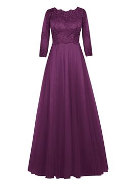 Ericdress Elegant Jewel Half Sleeves Lace A Line Mother of the Bride Dress