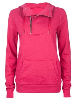 Ericdress Plain Hooded Pocket Hoodie