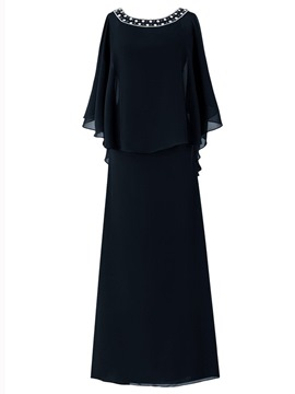 Ericdress Elegant Bateau A Line Chiffon Mother of the Bride Dress