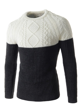 Ericdress Color Block Pullover Warm Vogue Men's Sweater