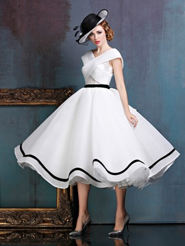 Ericdress Vintage Cap Sleeve A-Line V-Neck Lace Sashes Tea-Length Prom Dress