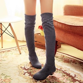 Ericdress Ladylike Knee High Boots with Rhinestone
