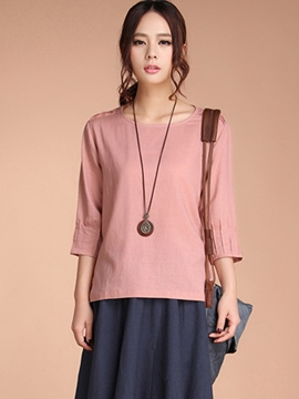 Ericdress Plain Three-Quarter Sleeve Blouse
