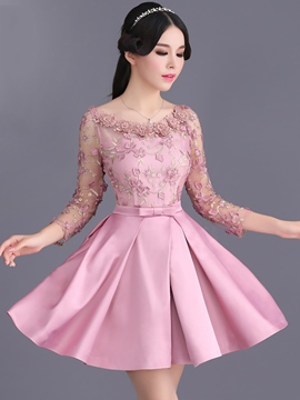 Ericdress A-Line Long Sleeve Appliques Lace Cocktail Party Dress