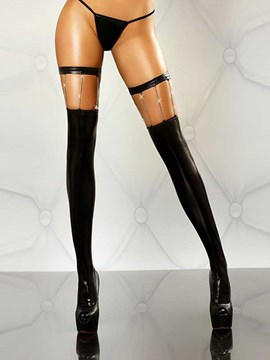 Ericdress Black PU Thigh Length Chain Design Stocking