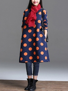 Ericdress Polka Dots Round Neck Pocket Casual Dress
