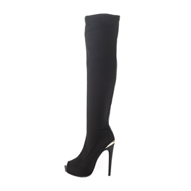 Ericdress Suede Peep Toe Knee High Boots