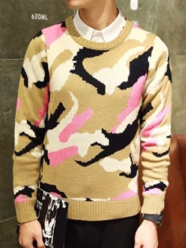 Ericdress Camouflage Crewneck Thicken Warm Men's Sweater