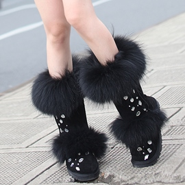 Ericdress Top Quality Rhinestone Furry Snow Boots