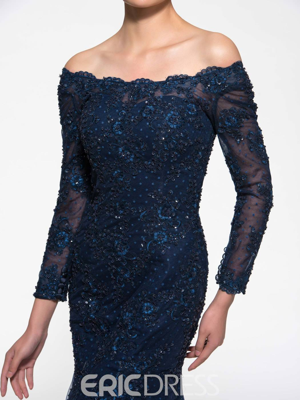 Ericdress Off the Shoulder Mermaid Mother of the Bride Dress with Sleeves