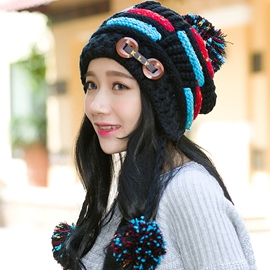 Ericdress Rainbow Double Button Ear Protection Hat