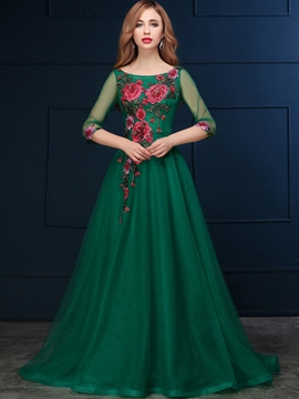 Ericdress 3/4 Length Sleeves Appliques Sequins Evening Dress