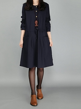 Ericdress Plain Single-Breasted Lace-Up Pocket Casual Dress