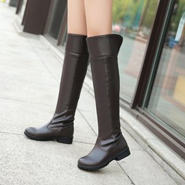 Ericdress Simple Pu Knight Knee High Boots