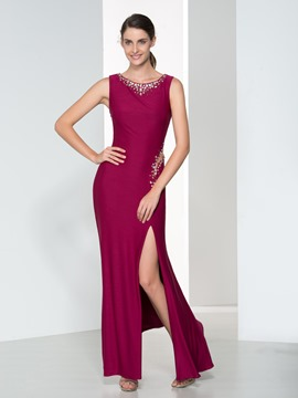 Ericdress Sheath Beading Split-Front Evening Dress
