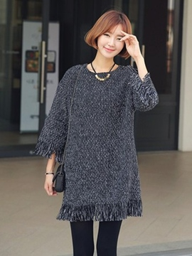 Ericdress Plain Tassel Round Neck Sweater Dress