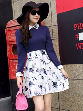 Ericdress Floral Print High-Waist Casual Dress