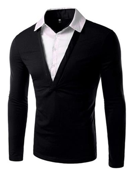 Ericdress Double-Layer Design Slim Long Sleeve Men's T Shirt