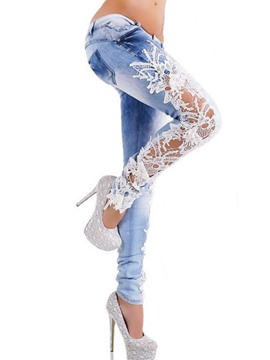 Ericdress Lace Hollow Slim Jeans