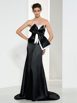 Ericdress Strapless Bowknot Court Train Evening Dress