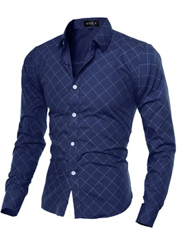 Ericdress Thin Slim Plaid Men's Shirt