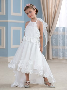Ericdress Beautiful Halter Flowers Asymmetry Flower Girl Dress