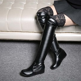 Ericdress Lace Patchwork Knee High Boots