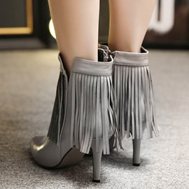 Ericdress Point Toe Fringe High Heel Boots