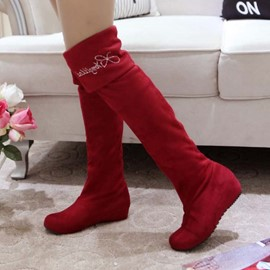 Ericdress Suede Rhinestone Decoration Knee High Boots