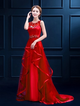 Ericdress A-Line Appliques Beading Court Train Evening Dress