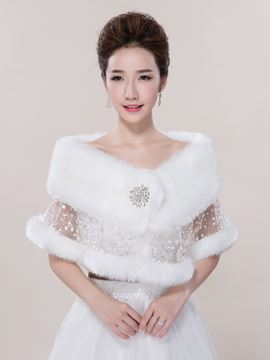 Ericdress Beautiful Faux Fur Beadings Wedding Wrap