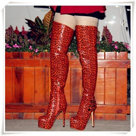 Ericdress Red Leopard Print Over Knee High Boots