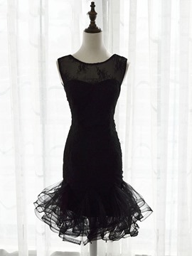 Ericdress Sheath Scoop Neck Lace Cocktail Dress